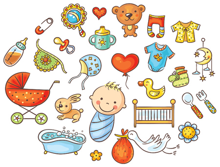 Colorful cartoon baby set, isolated disign elements Stock Illustratie