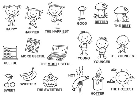 teaching aid: Degrees of comparison of adjectives in pictures, black and white