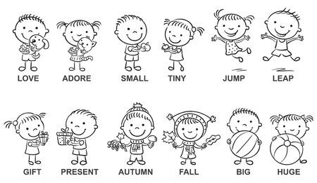 niños estudiando: personajes de dibujos animados en blanco y negro que ilustran adjetivos sinónimos, pueden ser utilizados como medio de enseñanza para un aprendizaje de lenguas extranjeras Vectores