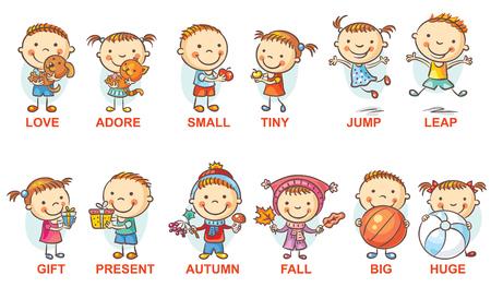 Kleurrijke stripfiguren illustreren synoniem bijvoeglijke naamwoorden, kan worden gebruikt als hulp bij het onderwijs voor een vreemde taal leren