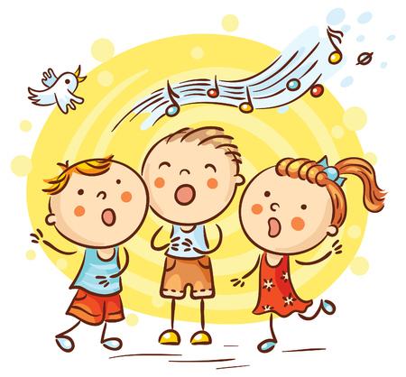 Happy children singing songs, colorful cartoon, vector