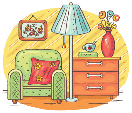 chest of drawers: Interior drawing with an arm-chair, lamp and chest of drawers, vector