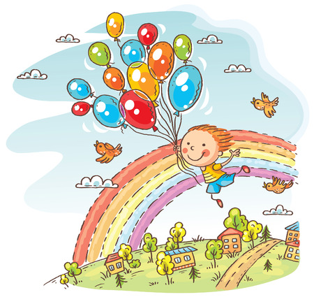 Happy child flying with the balloons, colorful cartoon