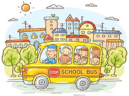 School bus with happy kids in the city, colorful cartoon, vector