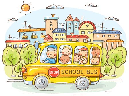 dessin enfants: autobus scolaire avec des enfants heureux dans la ville, bande dessinée colorée, vecteur