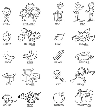 foreign language: Plural of nouns in cartoon pictures, black and white, can be used as a teaching aid for foreign language learning