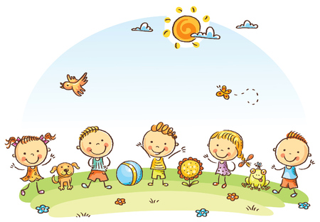 Happy cartoon kids outdoors on a green meadow 일러스트