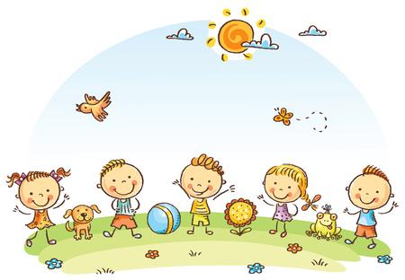 clima: Caricatura de niños felices al aire libre en un prado verde