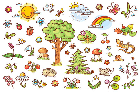 Cartoon nature set with trees, flowers, berries and small forest animals, no gradients Illustration