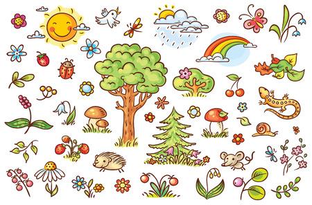 nubes caricatura: la naturaleza conjunto de dibujos animados con árboles, flores, bayas y pequeños animales del bosque, no degradados
