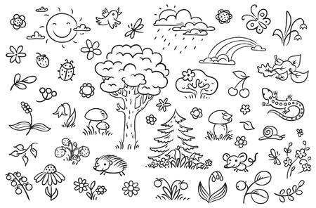 la naturaleza conjunto de dibujos animados con árboles, flores, bayas y pequeños animales del bosque, esquema en blanco y negro