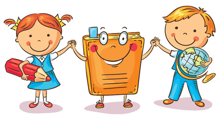 chicos: Niños de la mano con un libro como símbolo de aprendizaje, conocimiento, educación, dibujo animado colorido