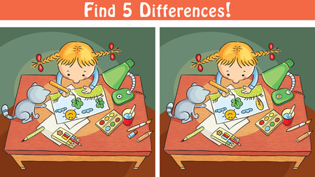 find: Find differences game with a cartoon girl drawing a picture, colorful