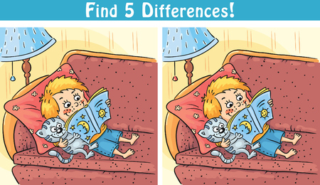 Find differences game with a cartoon boy reading a book, colorful