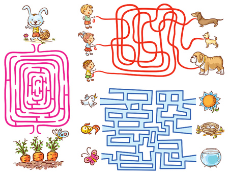 Labyrinth games set for preschoolers: find the way or match elements, colorful cartoon