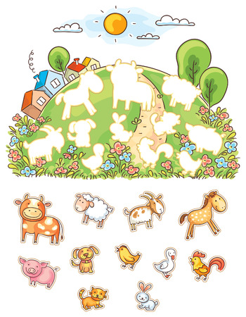 child drawing: Animals and their shapes matching game, colorful cartoon