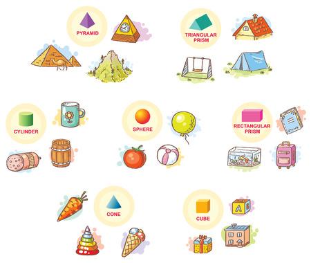 forme 3D con esempi di oggetti della vita quotidiana Vettoriali