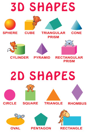 preschoolers: Basic 3d and 2d shapes with cartoon animals for preschoolers