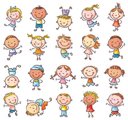Twintig schetsmatige gelukkige kinderen springen van vreugde, geen hellingen, geïsoleerde