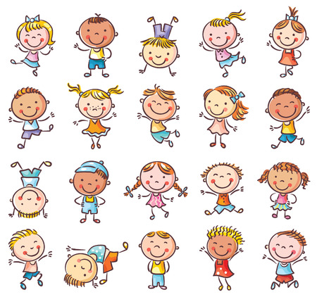 Twenty sketchy happy kids jumping with joy, no gradients, isolated