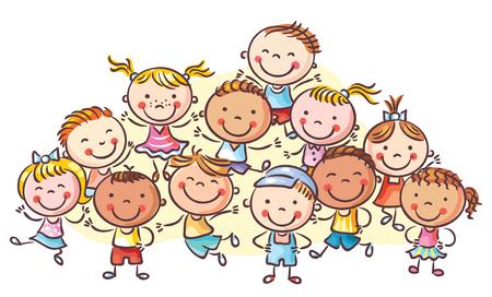 Een groep gelukkige kinderen, geen hellingen, vector