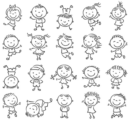 Twenty sketchy happy kids jumping with joy, black and white outline Ilustracja