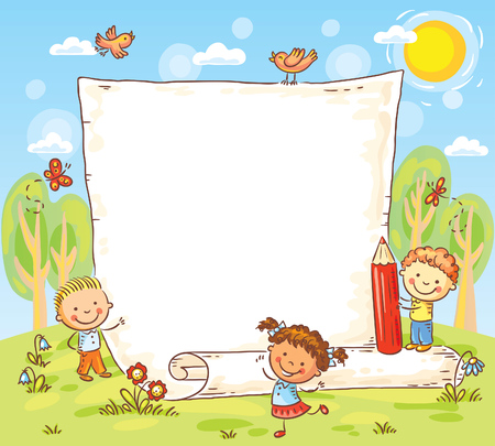cartoon frame with three kids outdoors, vector