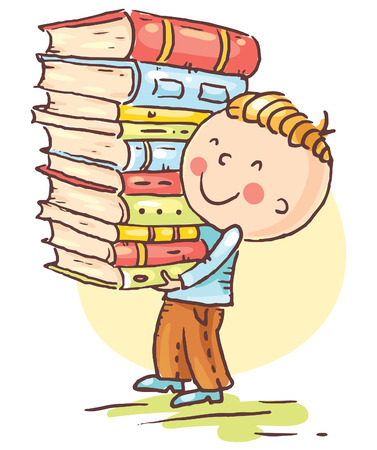 student with books: Little boy is carrying a big pile of books, vector Illustration