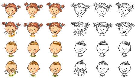 niño llorando: Conjunto de niño y niña se enfrenta con diversas emociones, tanto de colores y blanco y negro Vectores