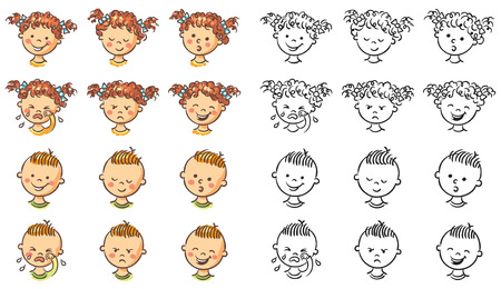 children art: Set of boy and girl faces with different emotions, both colorful and black and white