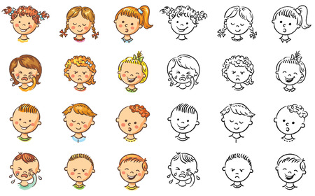 Set of different kids with various emotions, both colorful and black and white