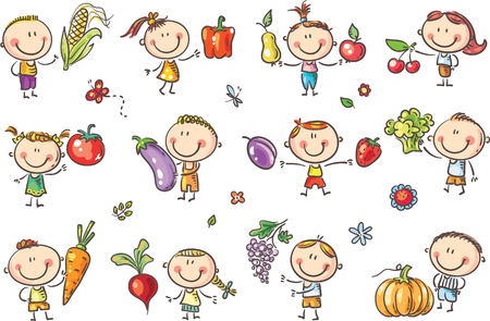 Funny Sketchy Kids with Fruits and Vegetables will illustrate healthy eating or vegetarian food or just enter a kids art style design. 版權商用圖片 - 85328109