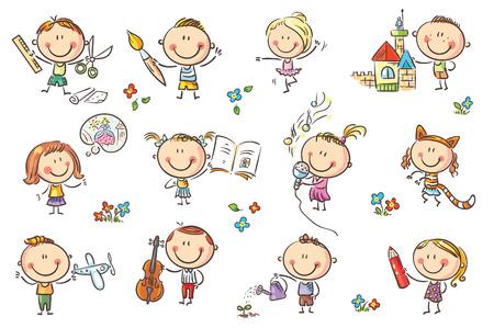 Zabawne dzieci animowane zajmują się różnymi działaniami twórczymi, takimi jak rysunek, śpiew, modelowanie i tak dalej. Nie gradienty używane, łatwe do wydrukowania i edycji. Pliki wektorowe można skalować do dowolnego rozmiaru. Ilustracje wektorowe