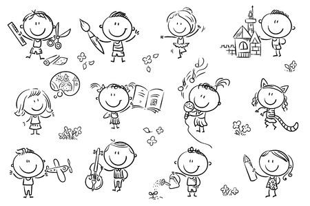 Ninos Divertidos Dibujos Animados Con Diferentes Herramientas Para