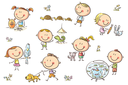 Happy cartoon sketchy kids with different pets like a puppy, a cat, a lizard, a parrot and others. No gradients used, easy to print and edit. Vector files can be scaled to any size. Illusztráció