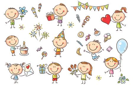 Un ensemble d'enfants drôles fragmentaires célébrant la fête d'anniversaire avec des bonbons, des gâteaux et des fleurs.