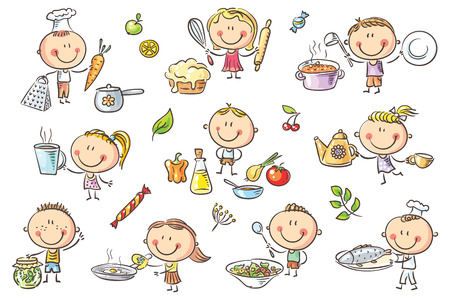 A set ot funny sketchy kids cooking different food.