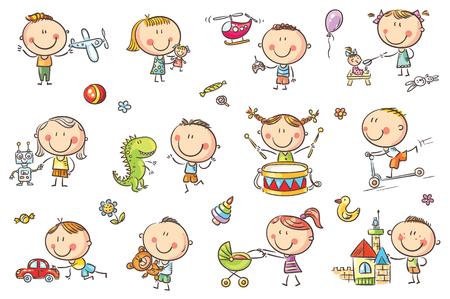 Divertidos niños incompletos jugando con diferentes juguetes. Ilustración de vector