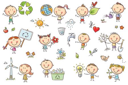 Doodle dzieci z koncepcjami ekologii - zielona energia, recykling, ochrona środowiska, zdrowy tryb życia. Brak gradientów, łatwe drukowanie i edycja. Pliki wektorowe mogą być skalowane do dowolnego rozmiaru.
