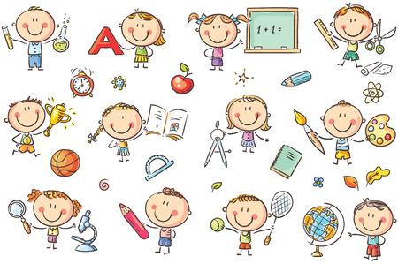 Glückliche Doodle-Kinder mit Schulsachen wie Bleistiften, Büchern, Tafeln usw. Vektordateien können auf jede Größe skaliert werden.