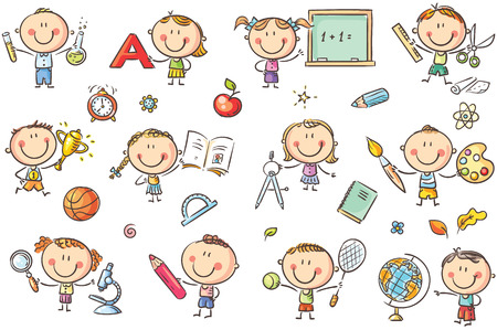 Happy doodle kids with school things like pencils, books, blackboard, etc. No gradients used, easy to print and edit. Vector files can be scaled to any size.