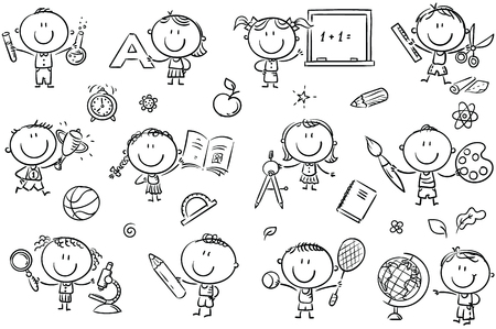 Happy doodle kids with school things like pencils, books, blackboard, etc. Vector files can be scaled to any size. Çizim