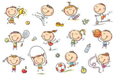 Aktywne dzieci z rzeczami sportowymi reprezentującymi zdrowy tryb życia. Brak gradientów, łatwe drukowanie i edycja. Pliki wektorowe mogą być skalowane do dowolnego rozmiaru.