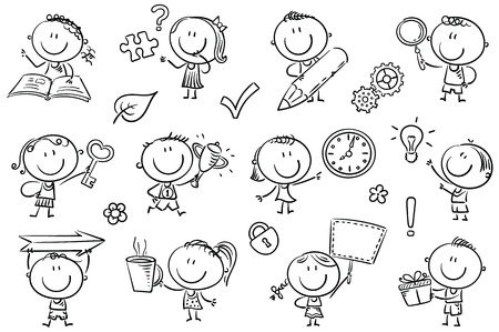 Kids with symbols like arrow, key, puzzle, magnifier and so on to draw attention to some points in your project or to emphasize something. Easy to print and edit. Illustration
