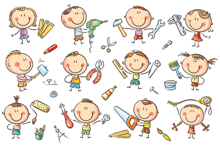 Funny cartoon kids with different tools for construction, measurements, painting. No gradients used, easy to print and edit. Vector files can be scaled to any size.
