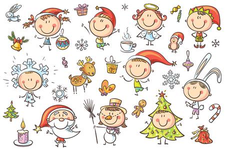 Zestaw zabawnych szkicowych dzieciaków w świątecznych strojach z różnymi atrybutami wakacyjnymi. Brak gradientów, łatwe drukowanie i edycja. Pliki wektorowe mogą być skalowane do dowolnego rozmiaru.