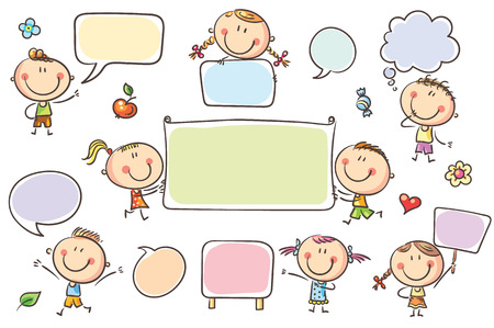 Doodle characters with blank signs, banners, speech bubbles. No gradients used, easy to print and edit. Vector files can be scaled to any size.
