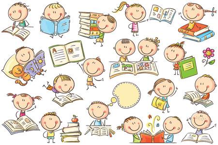 Funny doodle niños con libros en diferentes poses. No se usan degradados, son fáciles de imprimir y editar. Los archivos de vectores se pueden escalar a cualquier tamaño.