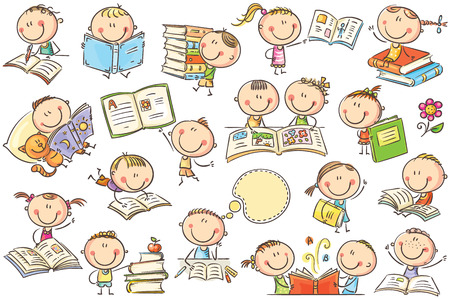 Funny doodle kids with books in different poses. No gradients used, easy to print and edit. Vector files can be scaled to any size. Vectores