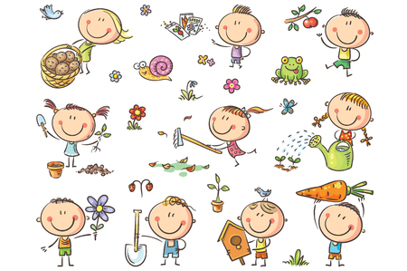 Doodle kids in the garden, watering, planting and gathering harvest. No gradients used, easy to print and edit. Vector files can be scaled to any size.
